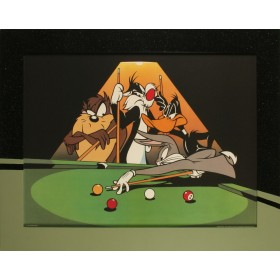 Bugs playing Pool - Exklusive Einrahmung 95 x 75 cm